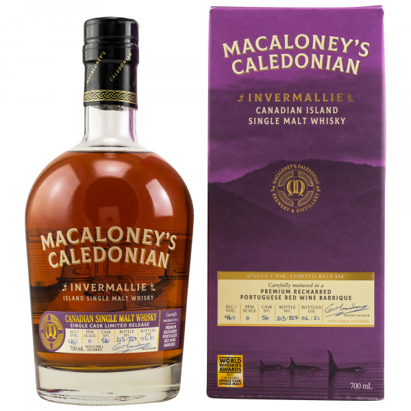 Invermallie – Portugese Red Wine Barrique Single Cask Macaloney's Caledonian Canadian Single Malt Whisky