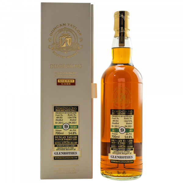 Glenrothes 9 Jahre 2012 - 2021 Duncan Taylor Dimensions
