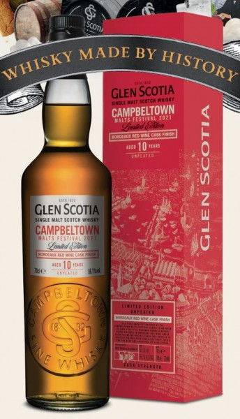 Glen Scotia10 Jahre Campeltown Malts Festival 2021 Bordeaux Red Wine Cask